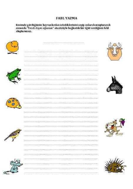 fabl yazma-1 çalışma kağıdı