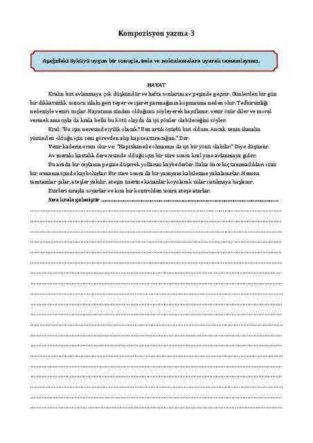 kompozisyon yazma-3 çalışma kağıdı
