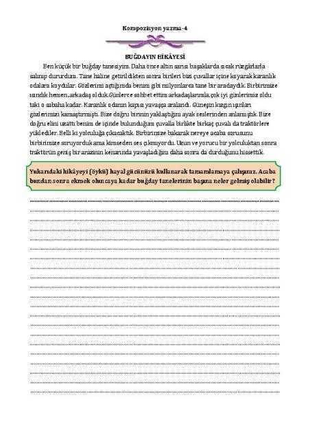 kompozisyon yazma-4 çalışma kağıdı