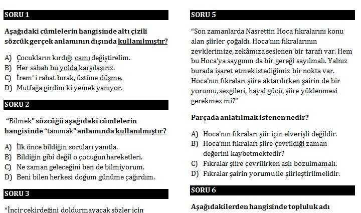 6 6. Sınıf Türkçe 2. Dönem 2. Yazılı Sınavı