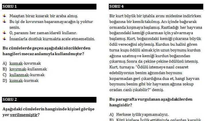 7 Türkçe Dersi Sene Başı Seviye Tespit Sınavı (Tüm Sınıflar)