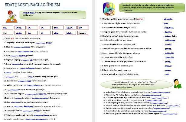 Edat Baglac Unlem Calisma Kagidi Turkceci Net Turkce Testleri