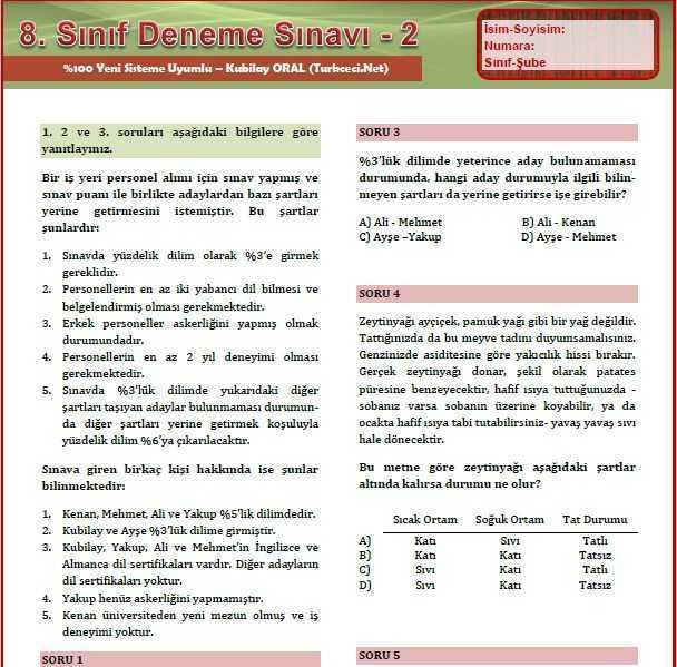 8.-Sınıf-Deneme-Sınavı-Kubilay-ORAL 8. Sınıf Deneme Sınavı 2 - Kubilay ORAL - %100 Yeni Sistemle Uyumlu