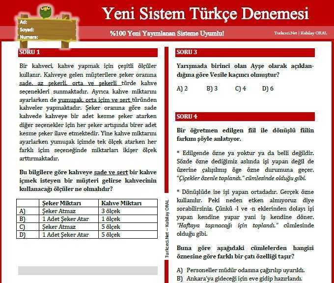 Yeni-Sistem-Türkçe-Denemesi-Kubilay-ORAL 8. Sınıf Yeni Sistem Denemesi - Video Çözümlü!