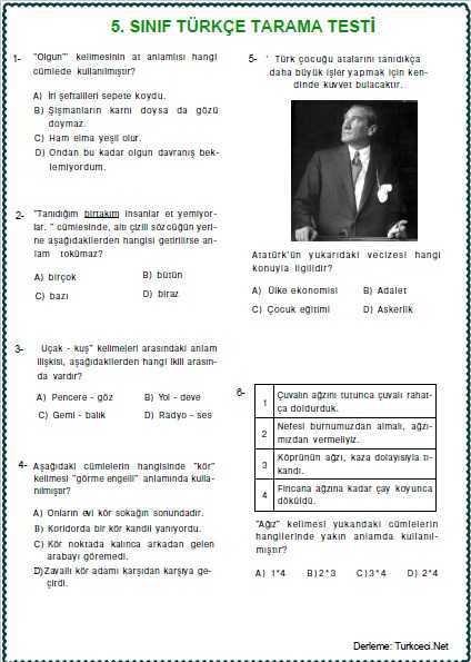 5. SINIF TÜRKÇE TARAMA TESTİ