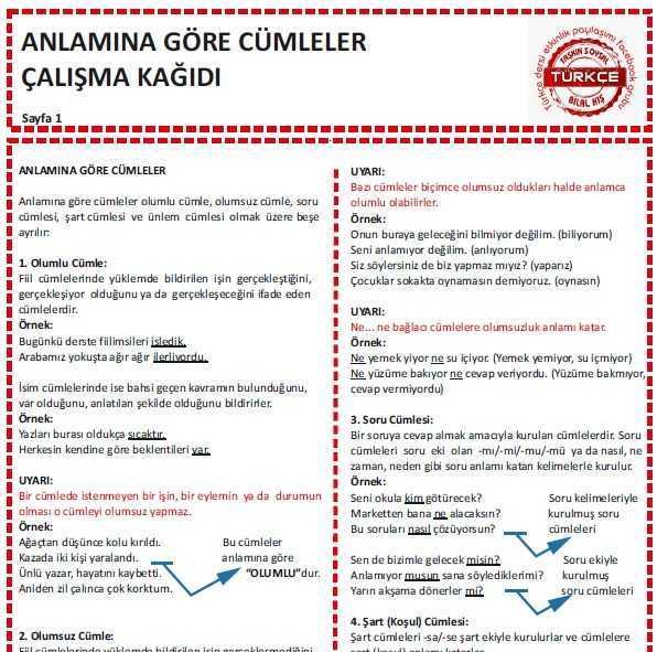 Anlamina Gore Cumleler Calisma Kagidi Turkceci Net Turkce Testleri