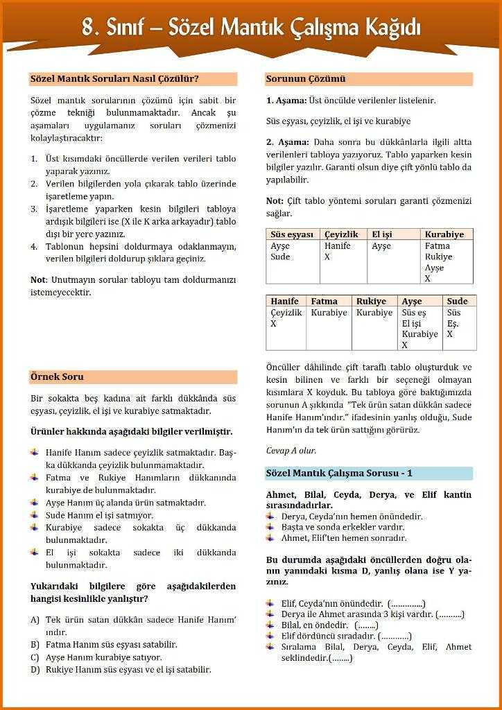 8 Sinif Sozel Mantik Calisma Kagidi Turkceci Net Turkce Testleri