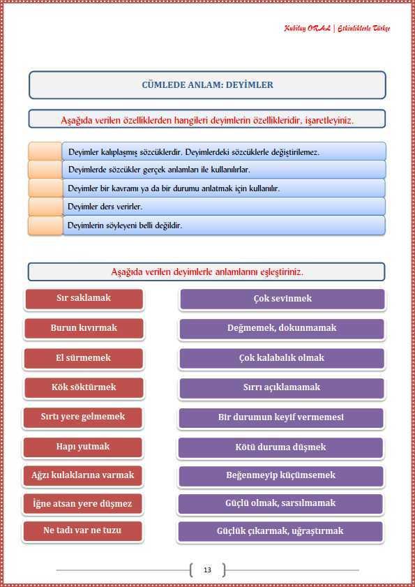 Deyimler Calisma Kagidi Turkceci Net Turkce Testleri