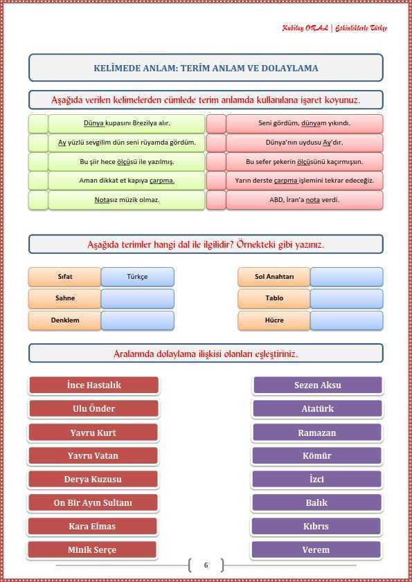 Terim Anlam Ve Dolaylama Calisma Kagidi Turkceci Net Turkce