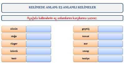 Es Anlamli Kelimeler Calisma Kagidi Turkceci Net Turkce Testleri