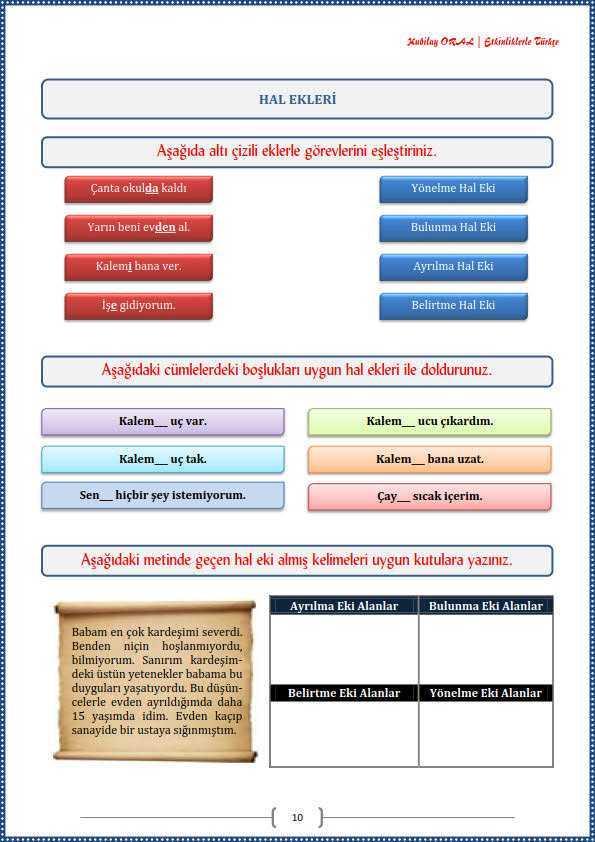 Hal Ekleri Calisma Kagidi Turkceci Net Turkce Testleri