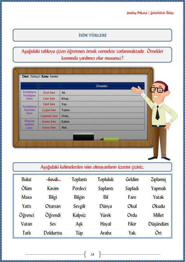 Isim Turleri Calisma Kagidi Turkceci Net Turkce Testleri