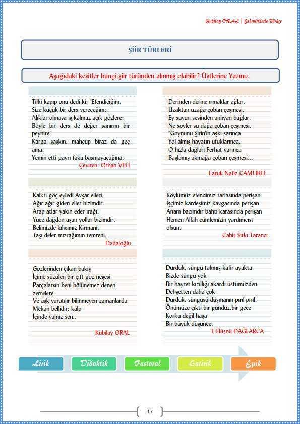 Siir Turleri Calisma Kagidi Turkceci Net Turkce Testleri