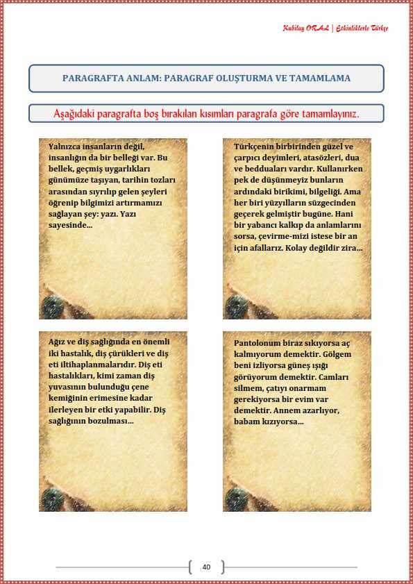 Paragraf Olusturma Ve Tamamlama Calisma Kagidi Turkceci Net