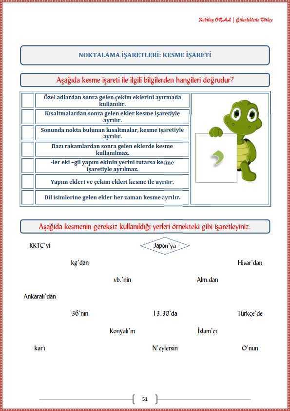 Kesme Isareti Calisma Kagidi Turkceci Net Turkce Testleri