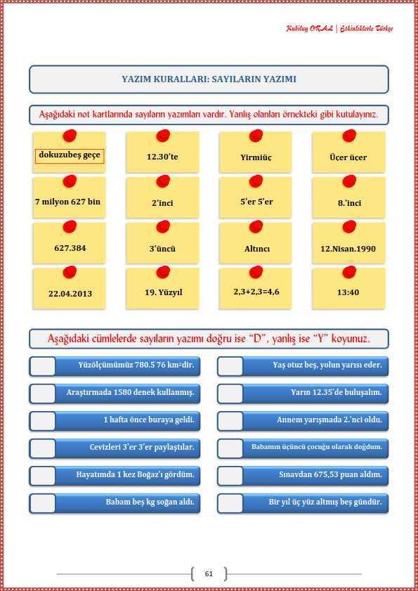 Sayilarin Yazimi Calisma Kagidi Turkceci Net Turkce Testleri