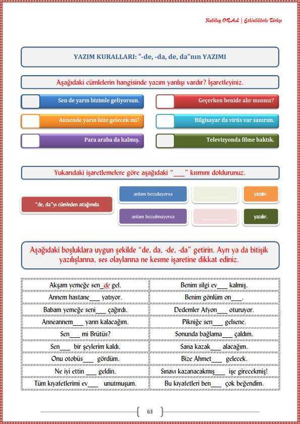De Nin Ve Ki Nin Yazimi Calisma Kagidi Turkceci Net Turkce