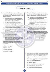 Yarış Ortaokulu Türkçe Deneme Sınavı