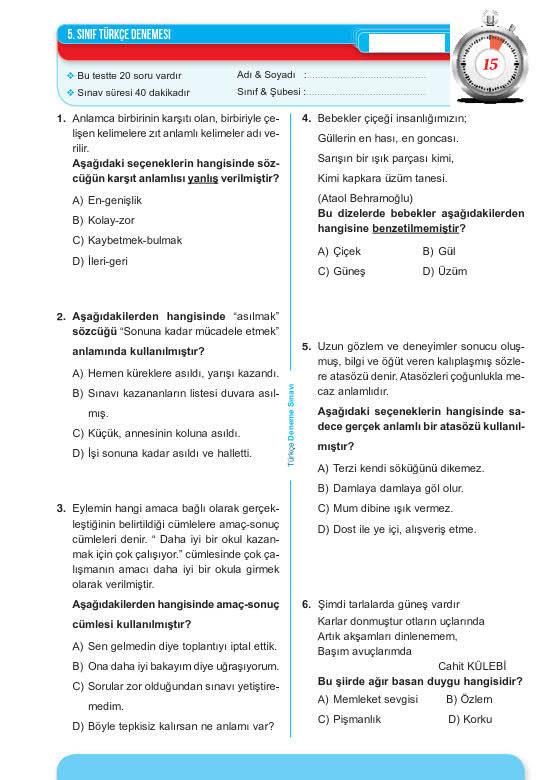 9. sınıf deneme pdf