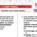 7. Sınıf Sözcükler Arası Anlam İlişkileri Testi