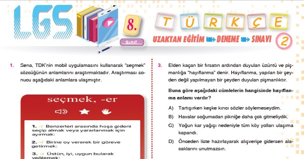 turkce lgs uzaktan egitim deneme sinavi